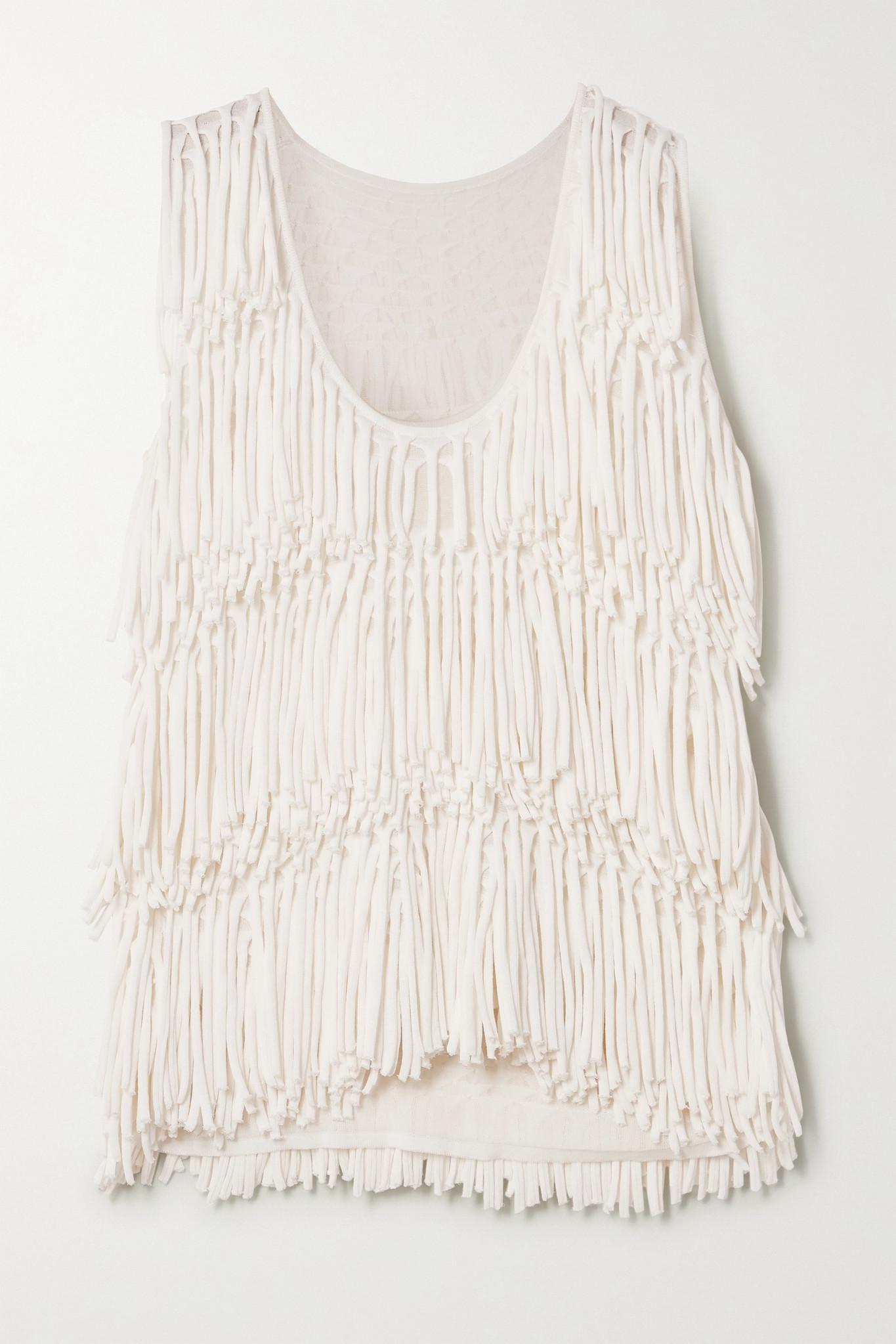 BOTTEGA VENETA - Fringed Knitted Tank - White - x small