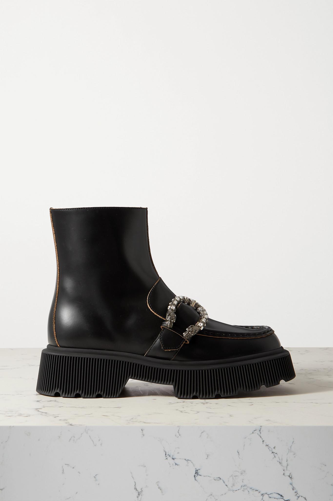 GUCCI - Hunder 搭扣皮革防水台踝靴 - 黑色 - IT36