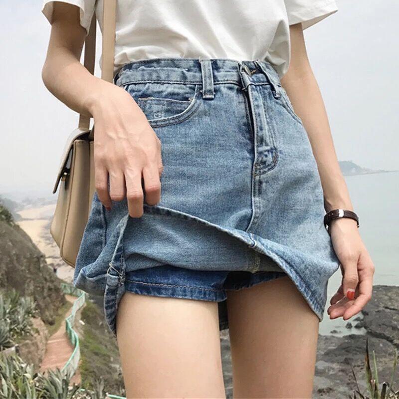 【HOT 本舖】復古風 大尺碼 牛仔短裙 a字裙 有內里 淺藍色 半身裙 包臀裙 夏季新款 夏季新款 韓版裙子S-5XL