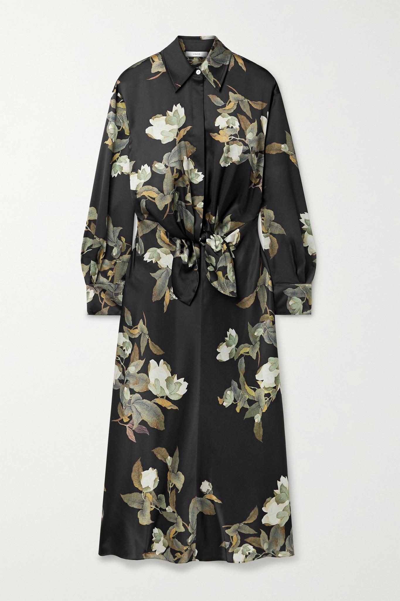 VINCE - Lisianthus 正面系带花卉印花缎布衬衫式中长连衣裙 - 黑色 - x small