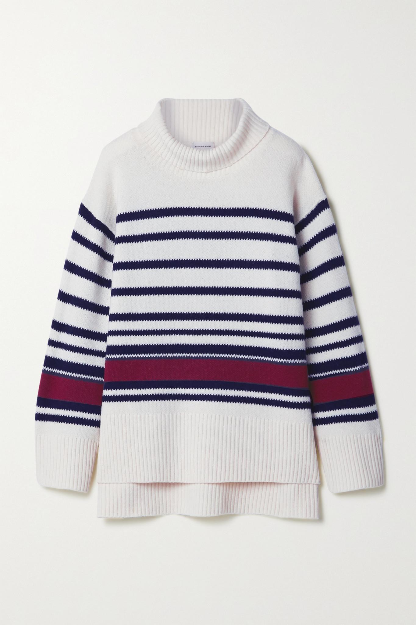 BY MALENE BIRGER - Hedera 大廓形条纹羊毛混纺高领毛衣 - 白色 - x small