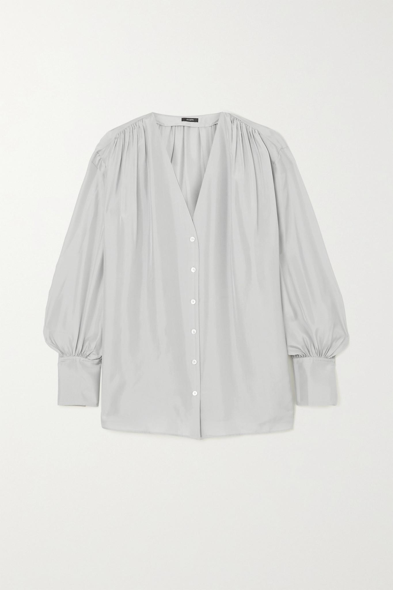 JOSEPH - Bary 缩褶真丝电力纺女衫 - 灰色 - FR40