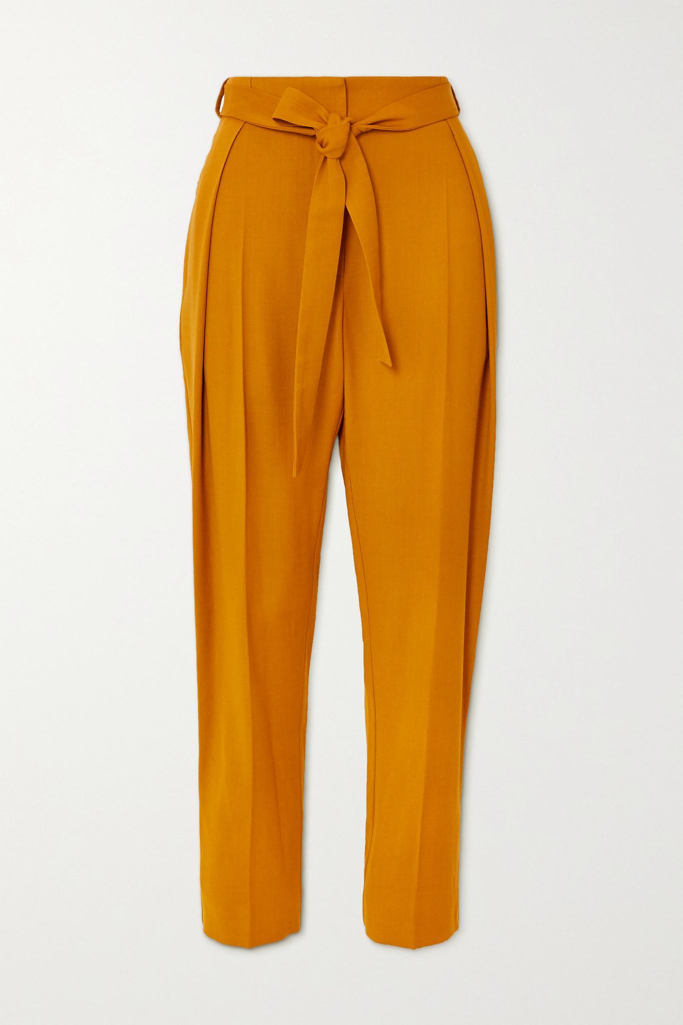 ROKSANDA - Goya 配腰带斜纹布锥形裤 - 橙色 - UK10