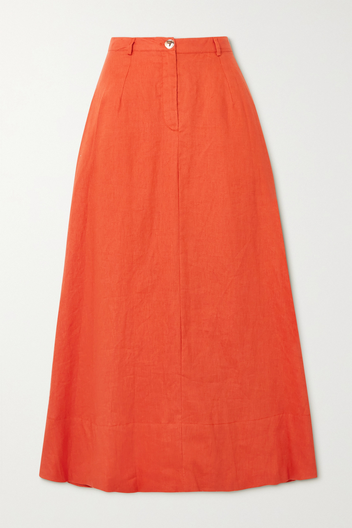 STAUD - Cybele 亚麻中长半身裙 - 橙色 - US2
