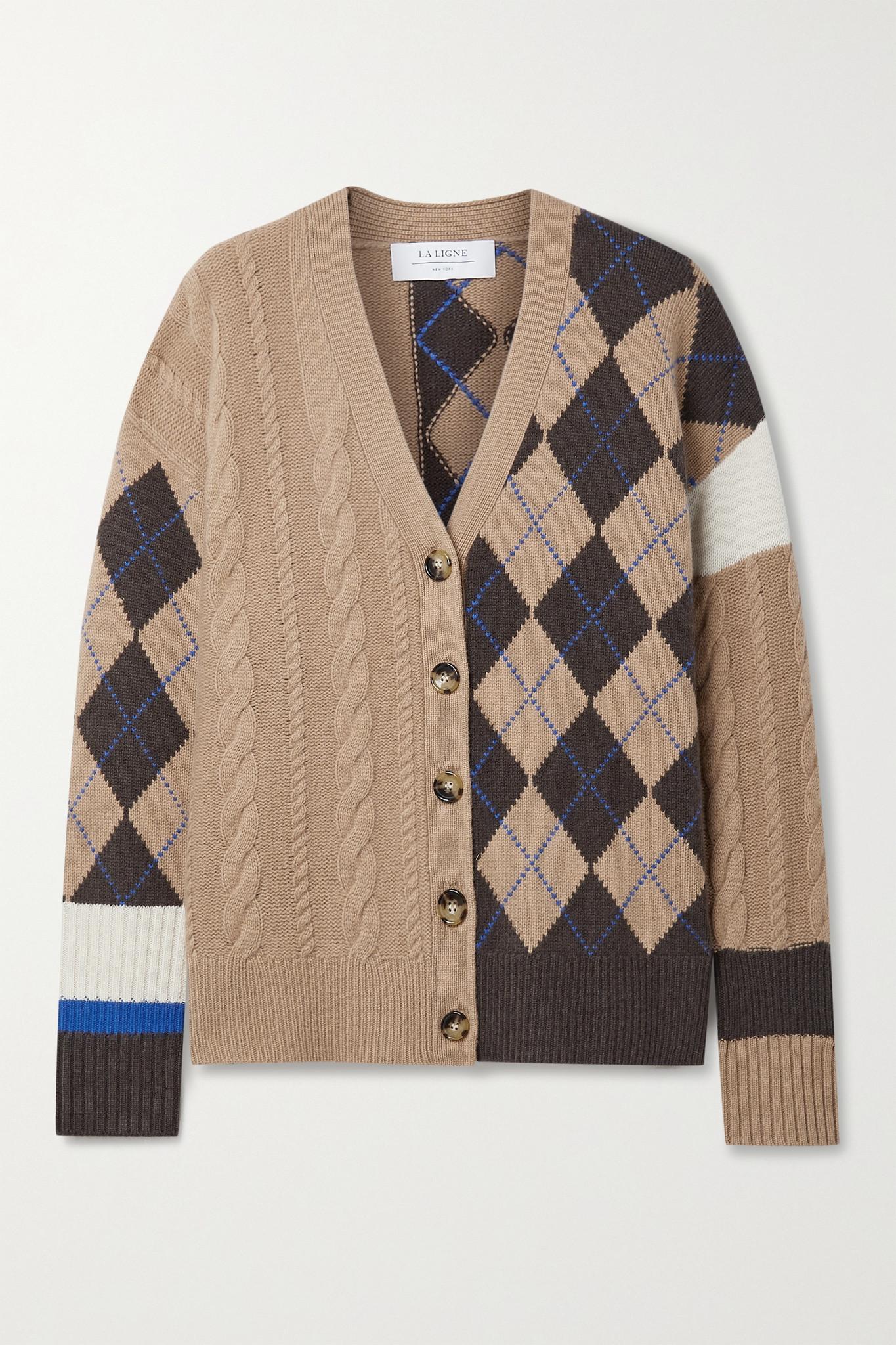LA LIGNE - Patchwork Cable-knit Cashmere Cardigan - Brown - large