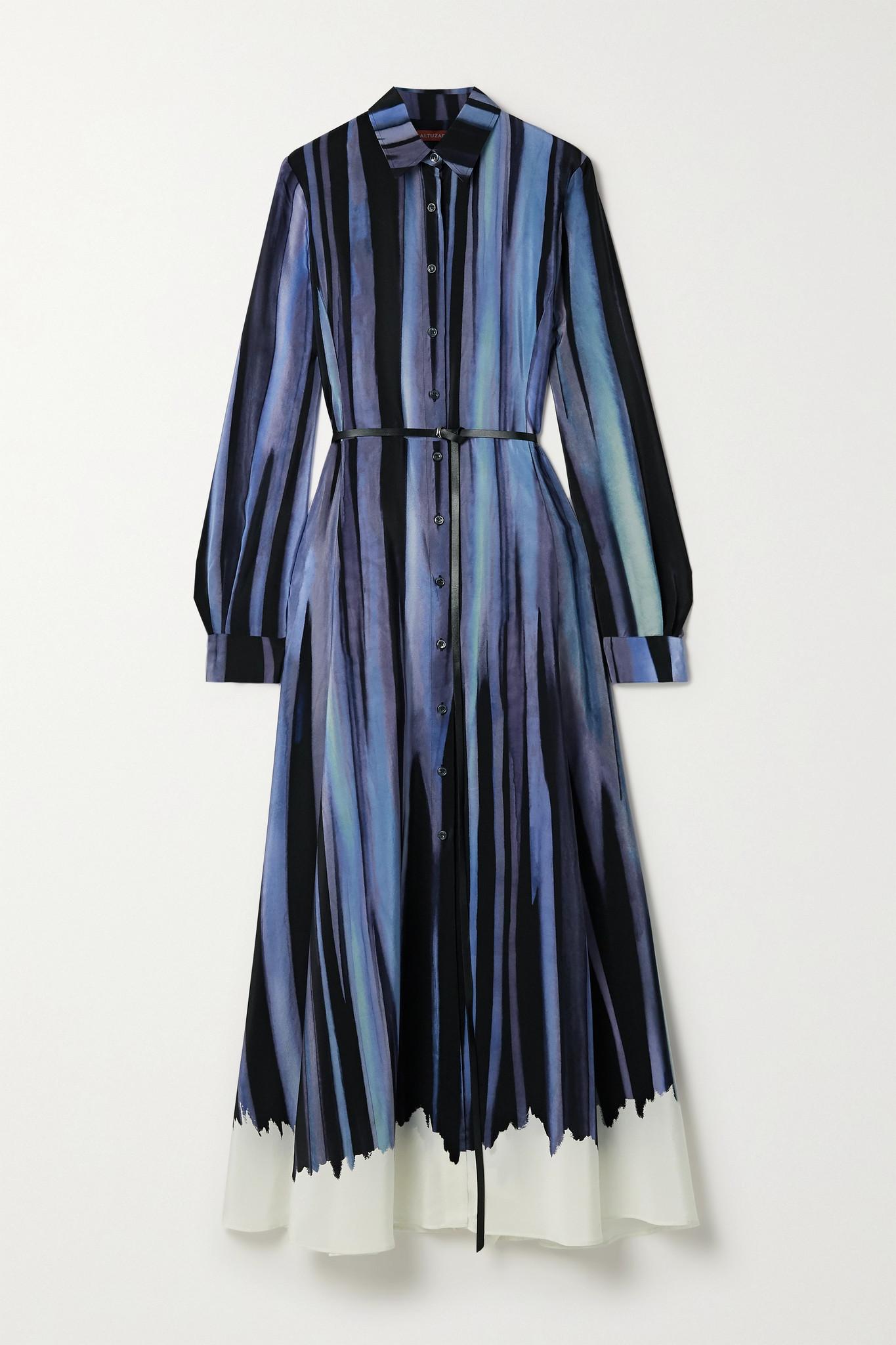 ALTUZARRA - Judina Belted Printed Silk Crepe De Chine Midi Shirt Dress - Blue - FR42