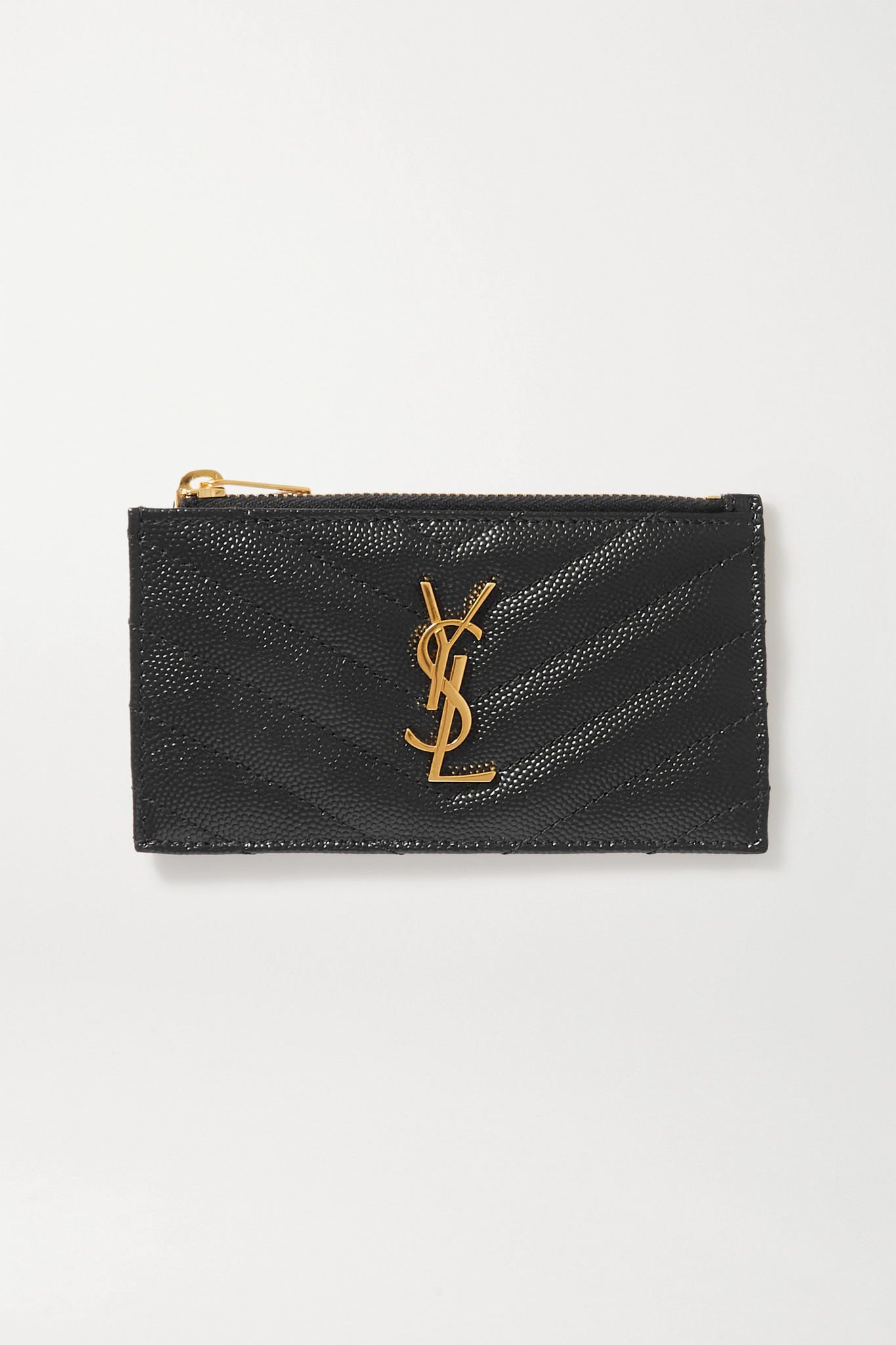 SAINT LAURENT - Monogramme Small Quilted Textured-leather Wallet - Black - one size