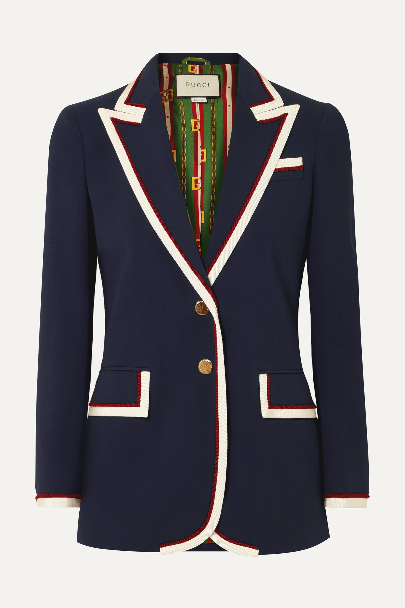 GUCCI - Grosgrain-trimmed Cady Blazer - Blue - IT40