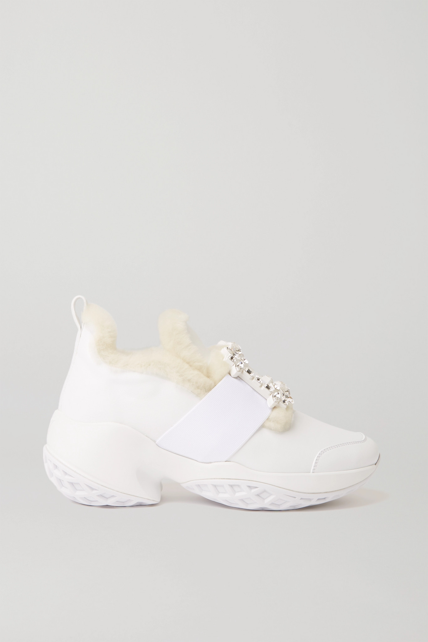 ROGER VIVIER - Viv' Run Crystal-embellished Shearling-trimmed Leather Sneakers - White - IT37.5