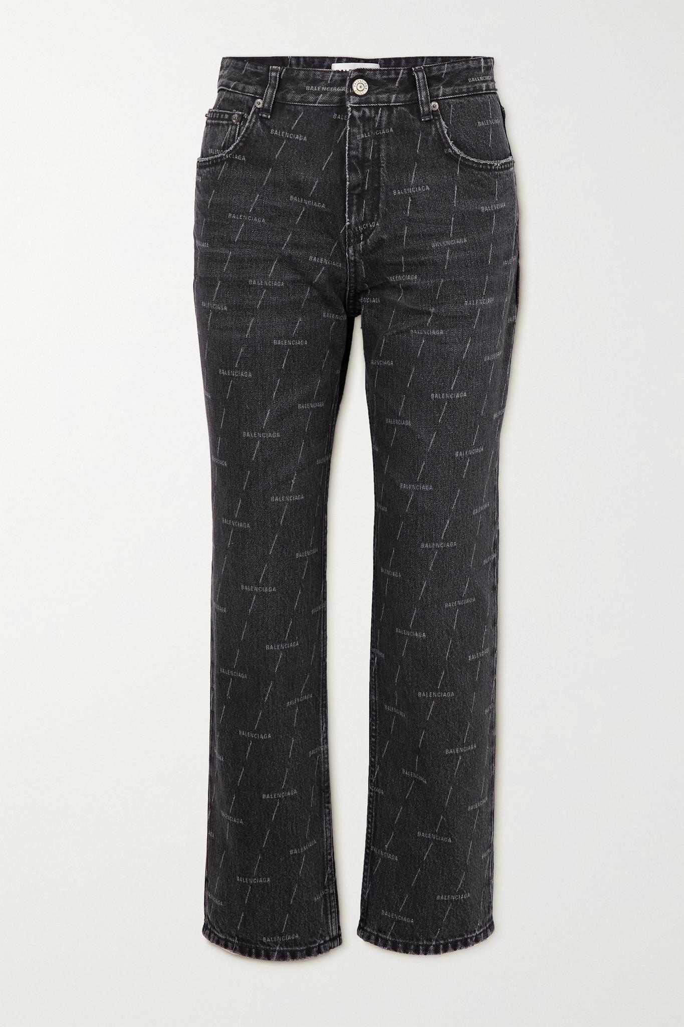 BALENCIAGA - Printed High-rise Straight-leg Jeans - Black - 25