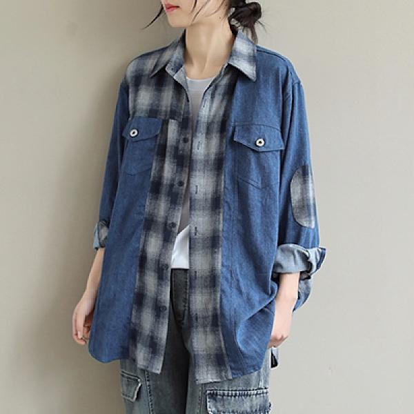 純棉拼接牛仔襯衫 格子翻領單排扣長袖襯衫/2色-夢想家-0223