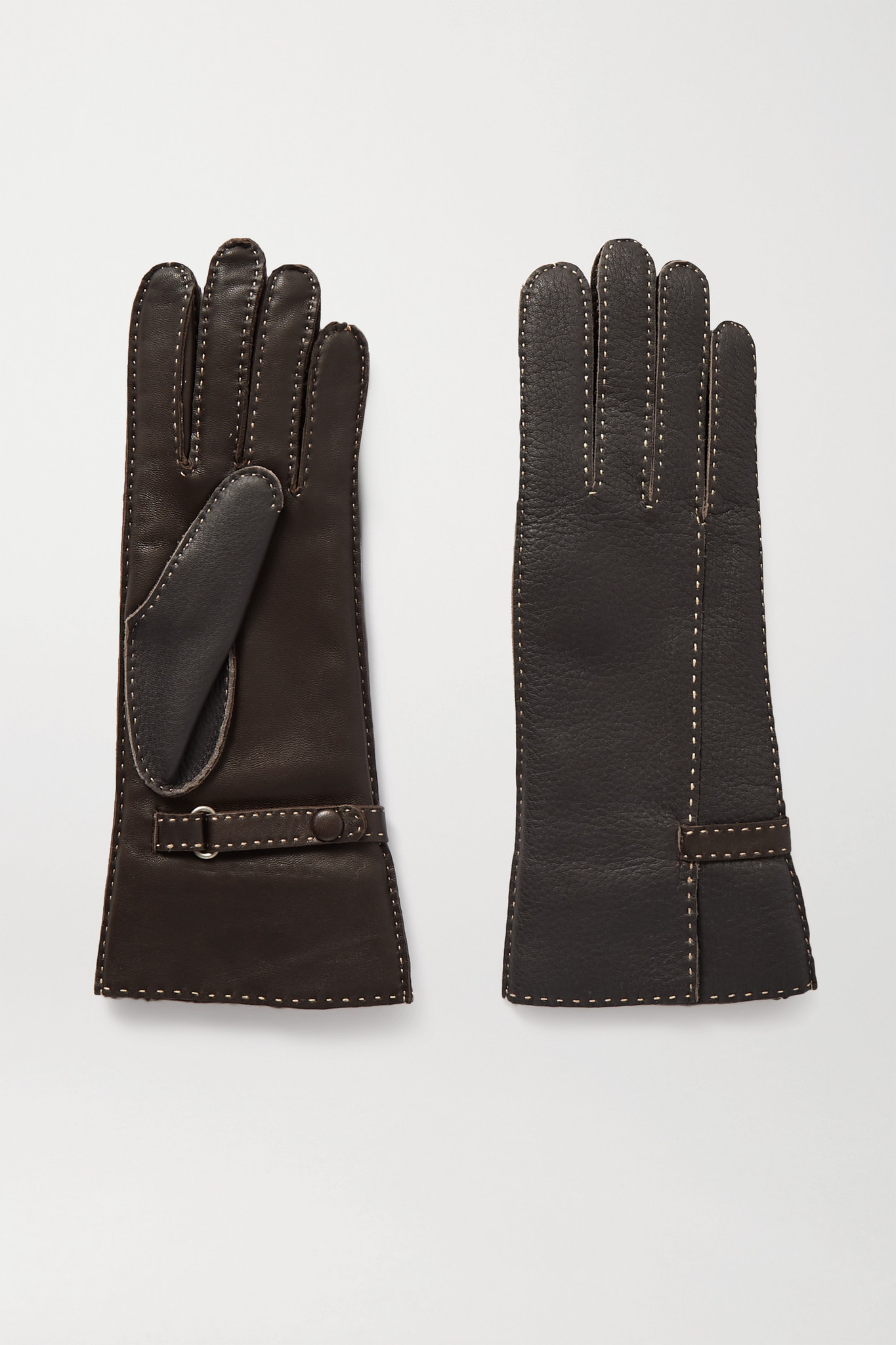 Agnelle - Sharil 明线细节皮革手套 - 棕色 - 6.5
