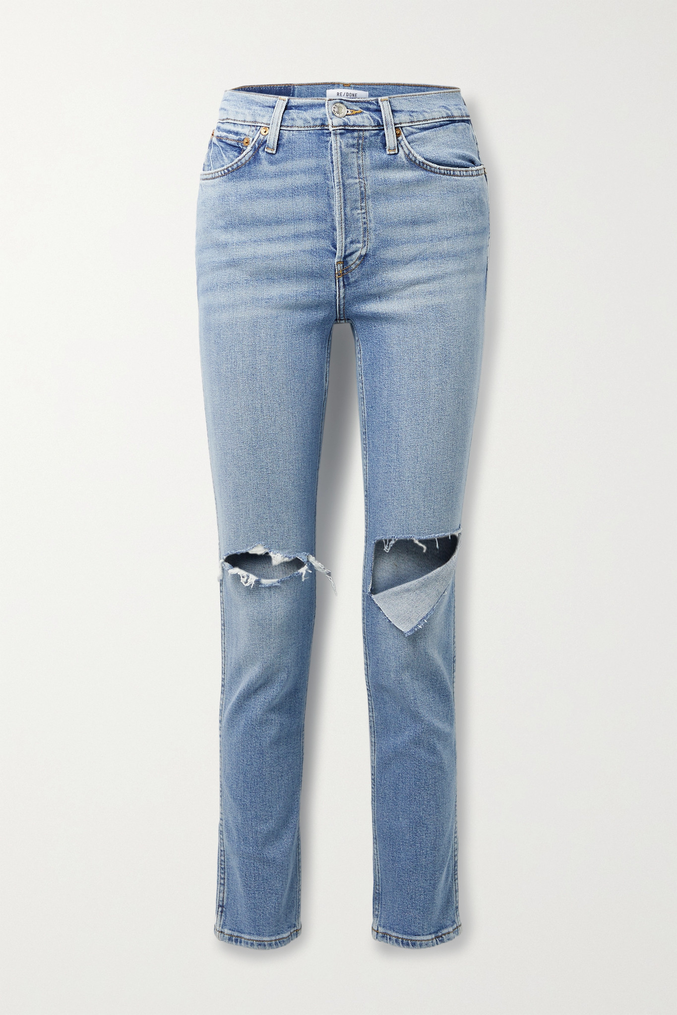 RE/DONE - + Net Sustain 80s Distressed High-rise Straight-leg Jeans - Blue - 29