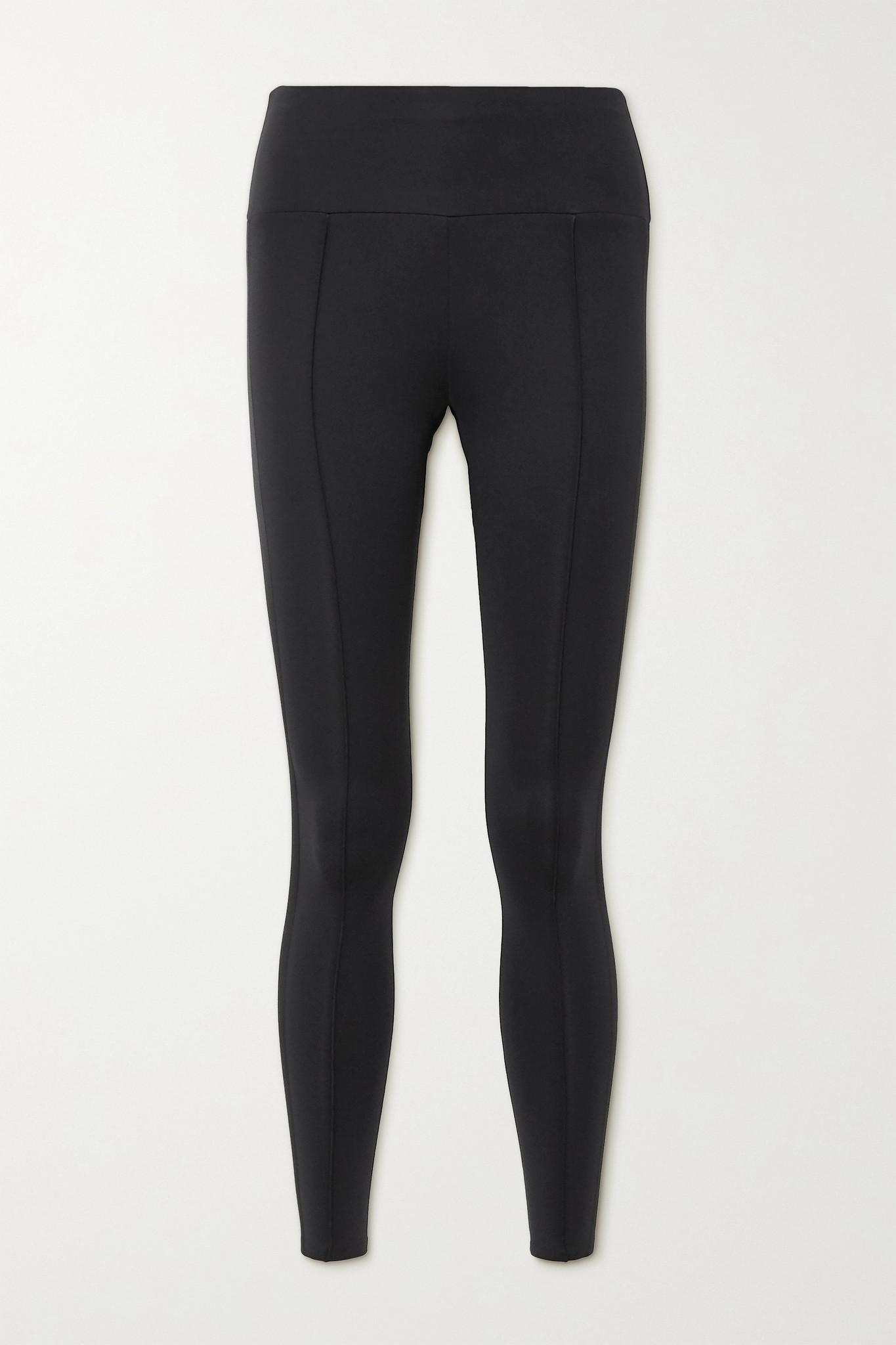 VAARA - Nica Satin-trimmed Stretch Leggings - Black - x small