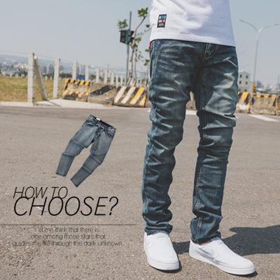 【N9825J】牛仔褲 微刷色後口袋皮革線條素面牛仔褲(UC2019)
