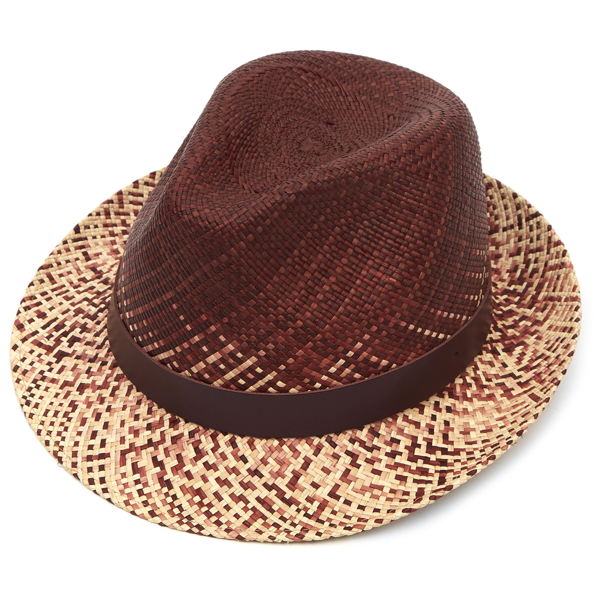 Hoxton Snap Brim Panama Hat - Burgundy & Natural S