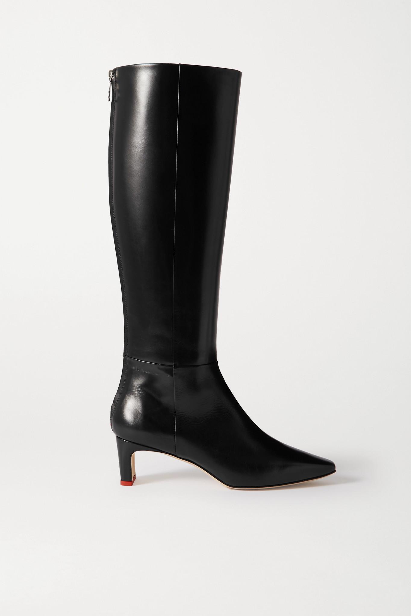 AEYDE - Sidney 皮革及膝长靴 - 黑色 - IT37
