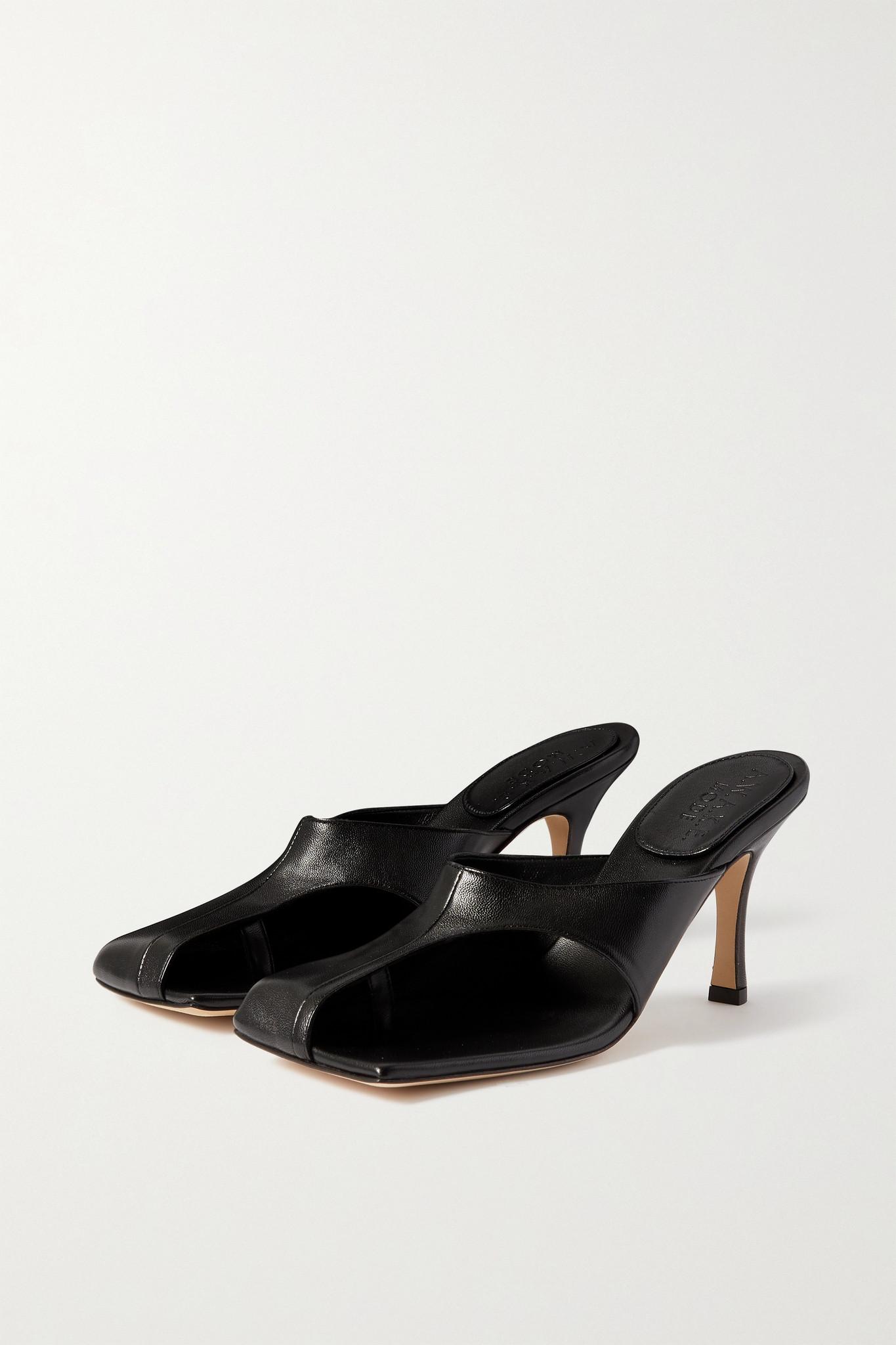 A.W.A.K.E. MODE - Mary Cutout Leather Mules - Black - IT39