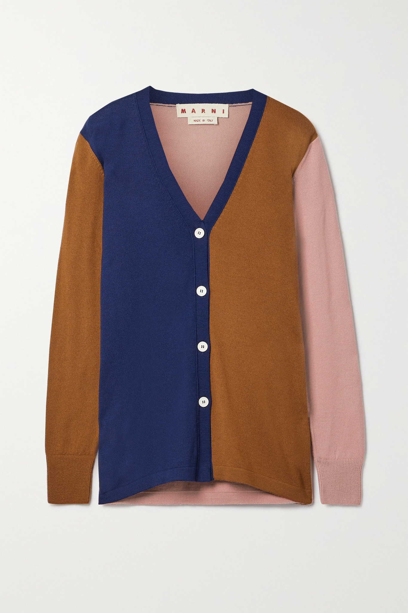 MARNI - Color-block Wool Cardigan - Blue - IT42