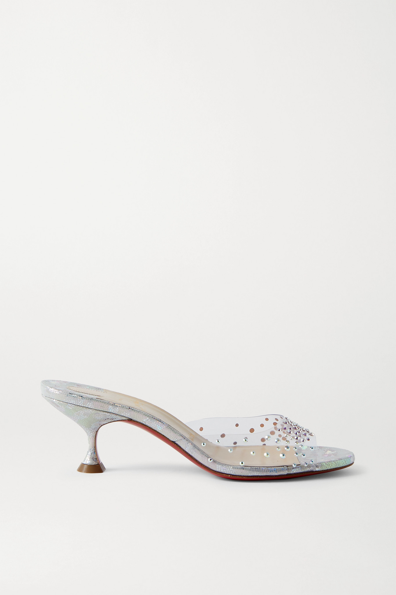 CHRISTIAN LOUBOUTIN - Pailettacan 55 Crystal-embellished Pvc And Iridescent Snake-effect Leather Mul