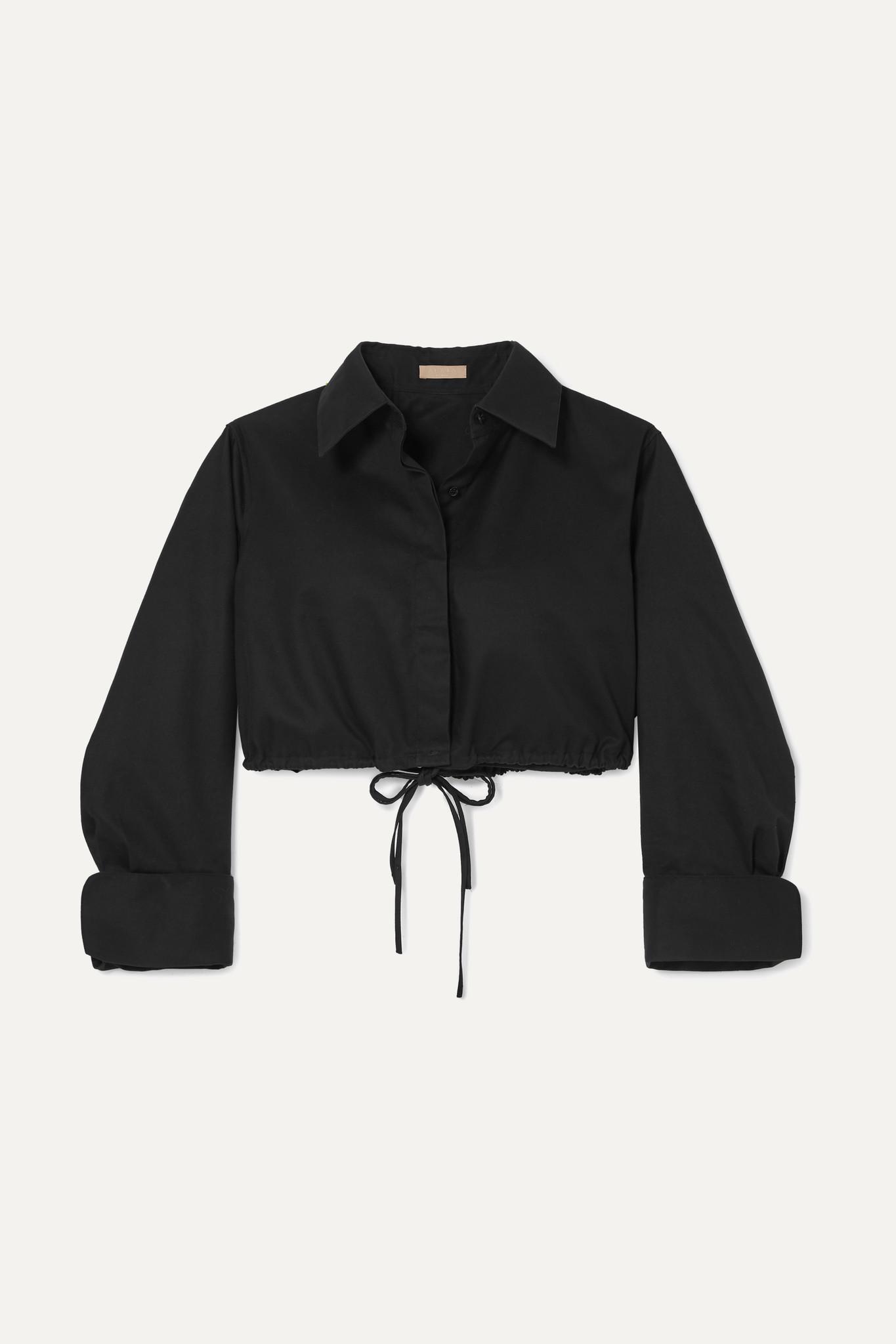 ALAÏA - Cropped Cotton-gabardine Shirt - Black - FR40