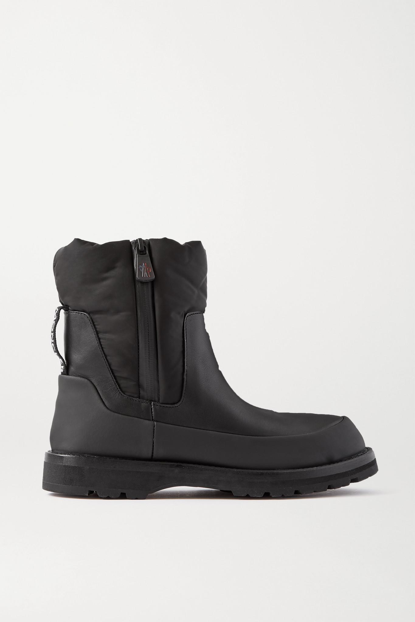 MONCLER - Rain Don't Care 拼接皮革软壳面料踝靴 - 黑色 - IT37