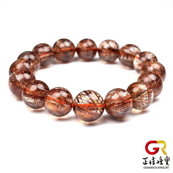 紅銅鈦晶手鍊 粗絲 12mm 圓珠 紅銅鈦手珠 銅鈦晶手珠 水晶手珠 正佳珠寶