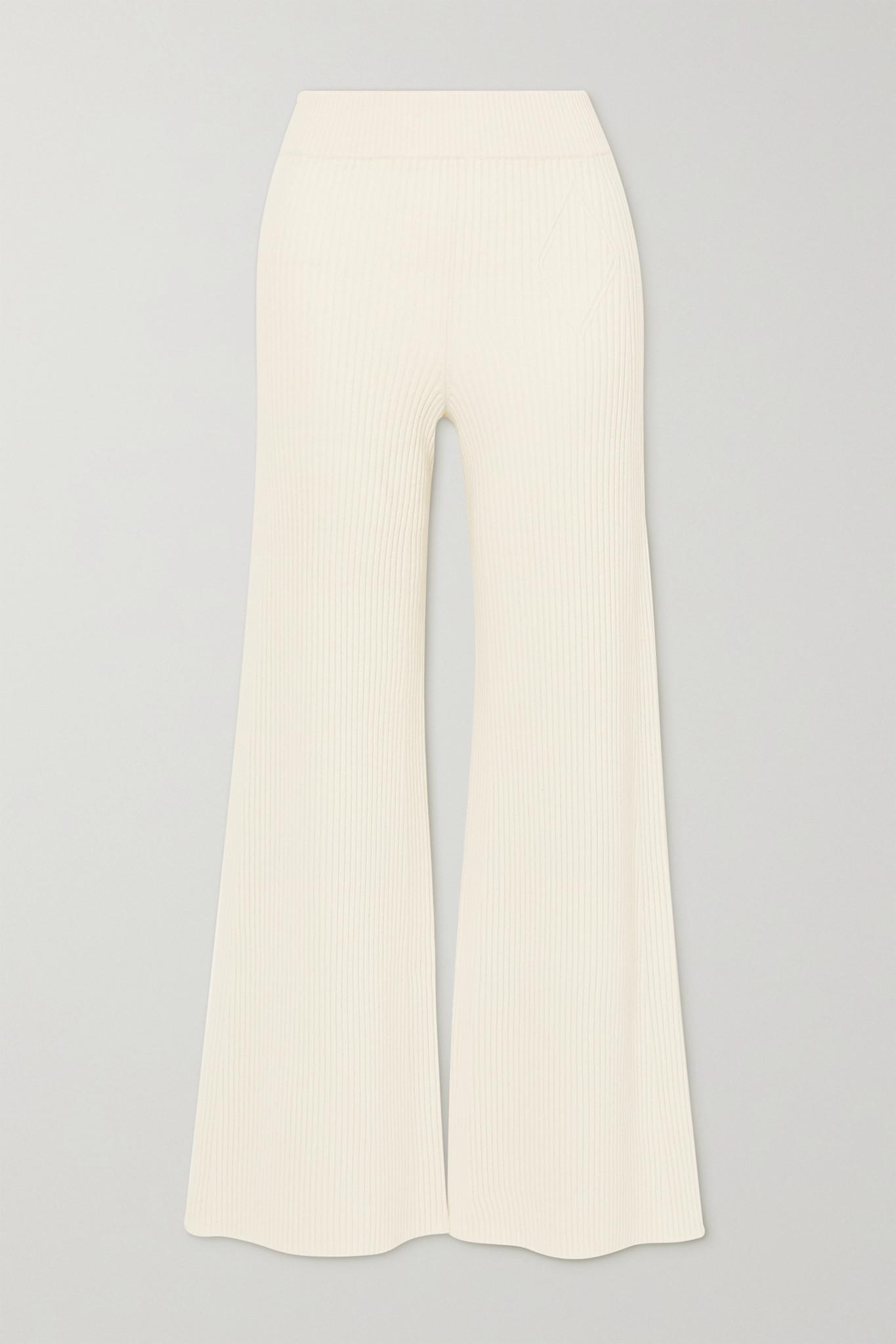 CHLOÉ - 罗纹羊毛混纺喇叭裤 - 白色 - small