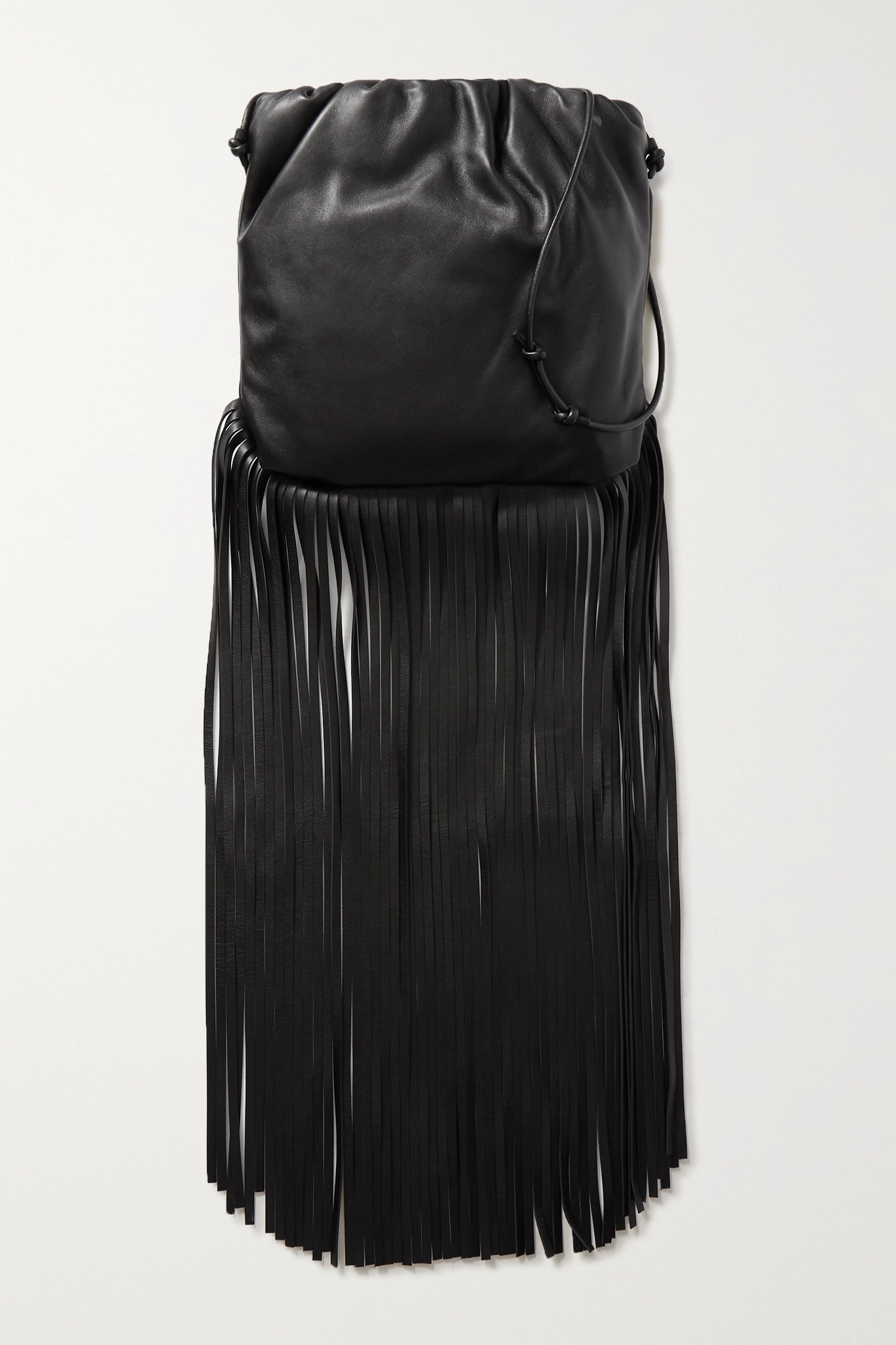 BOTTEGA VENETA - The Fringe Pouch 缩褶皮革单肩包 - 黑色 - one size