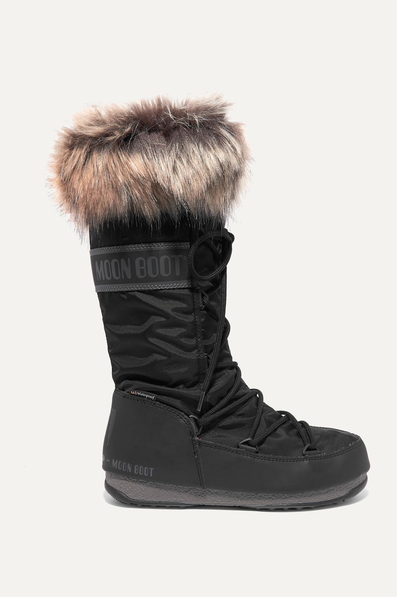 MOON BOOT - Monaco 人造皮草边饰软壳面料雪地靴 - 黑色 - IT38