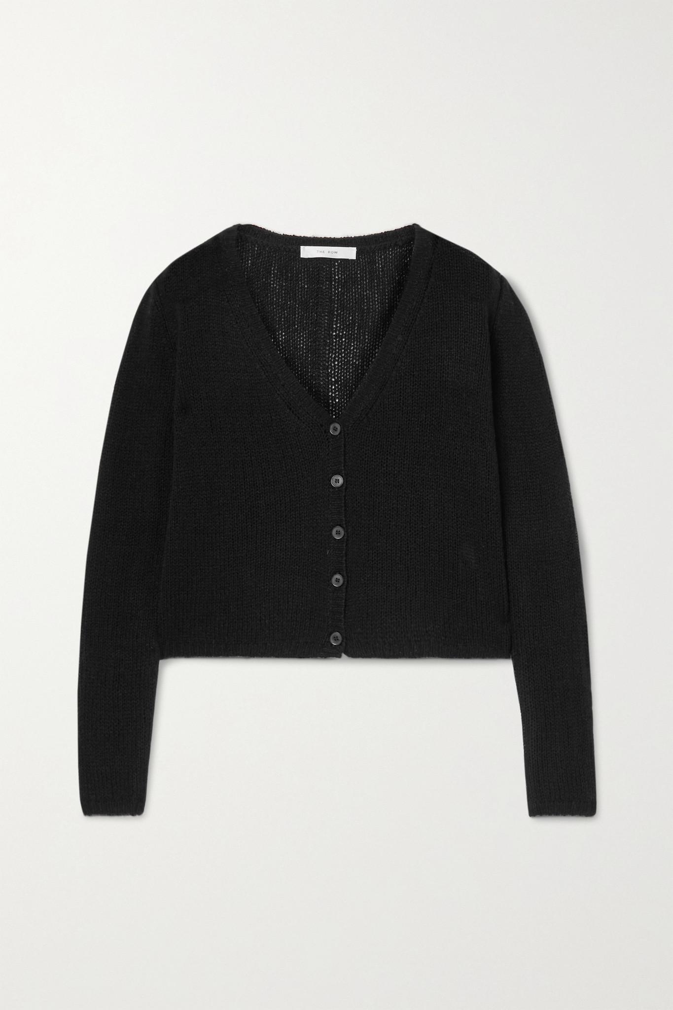 THE ROW - Abigael 羊绒短款开襟衫 - 黑色 - medium