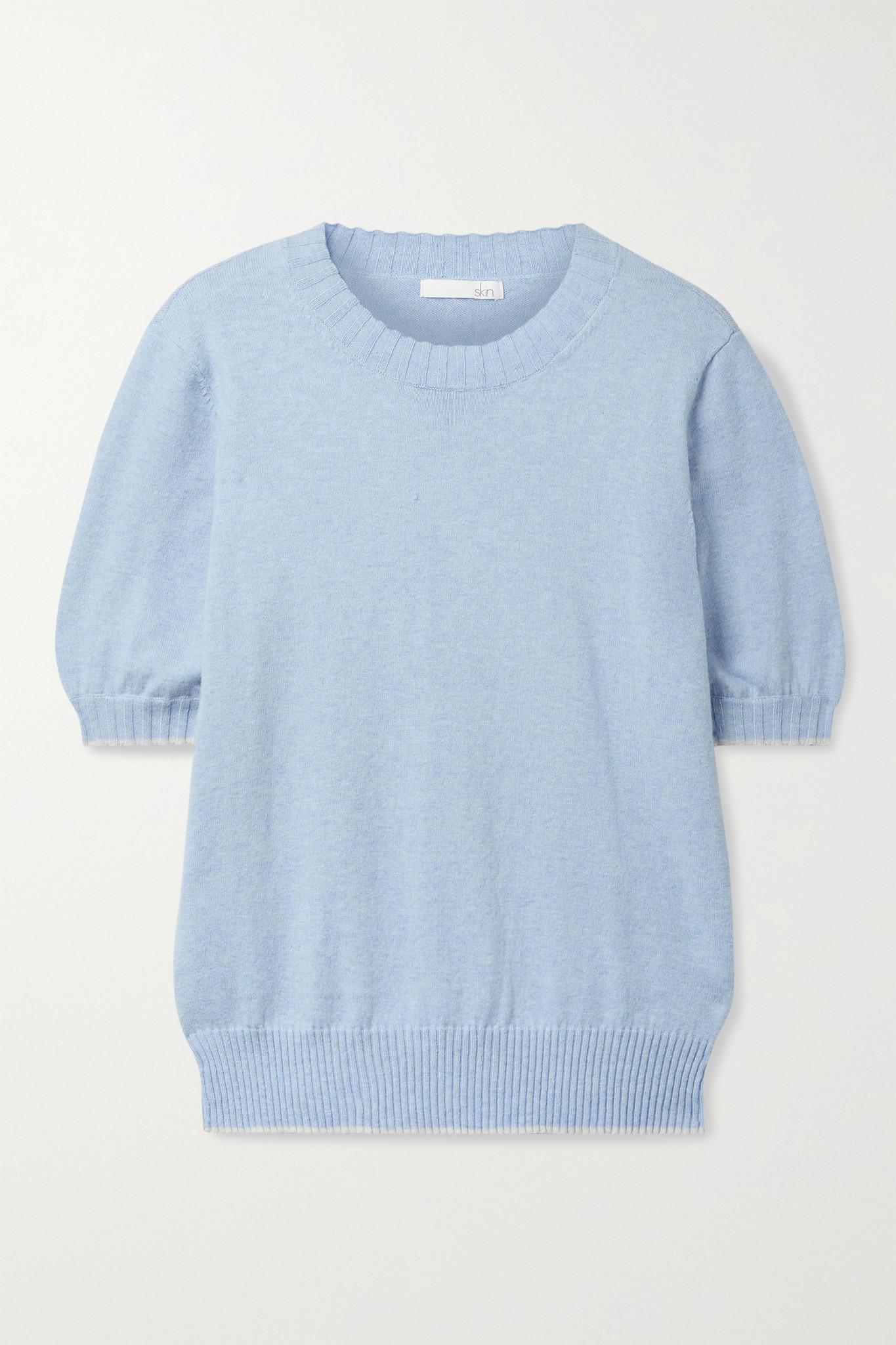 SKIN - Mirren Cotton And Cashmere-blend Sweater - Blue - medium
