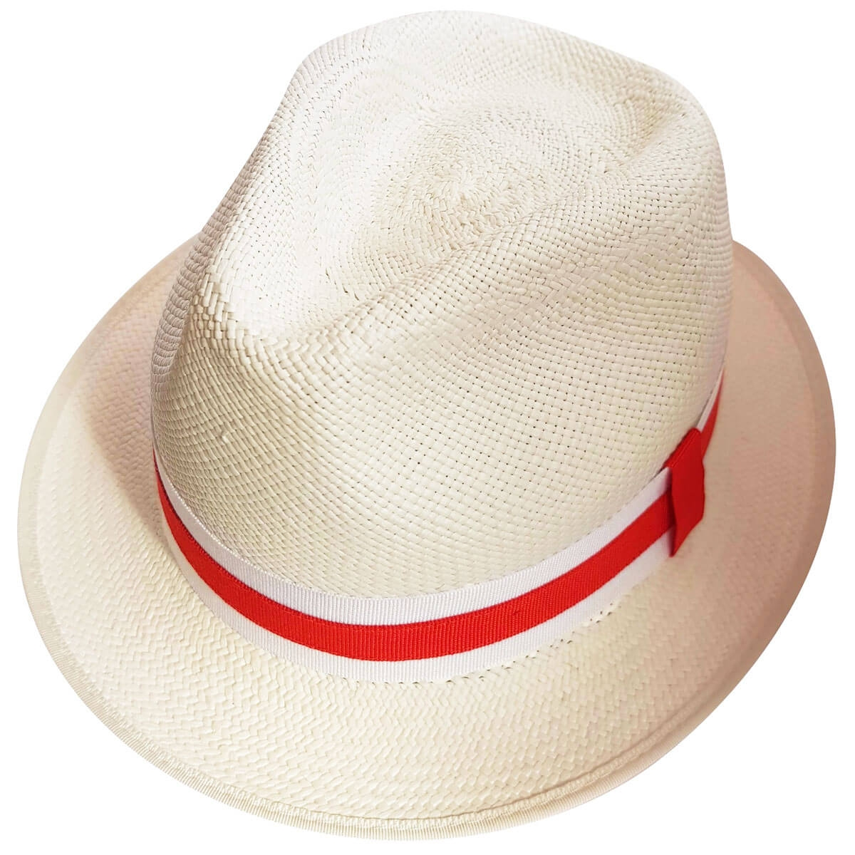 George Snap Brim Panama Hat - WHIT-Bleached in size 55
