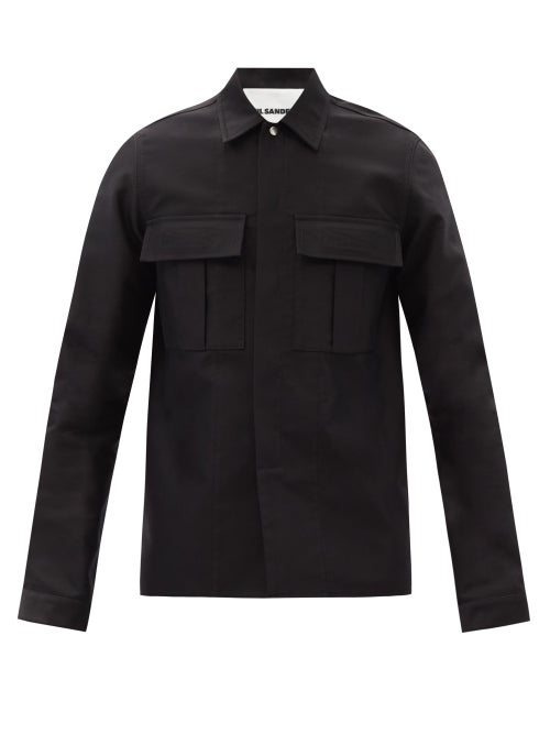 Jil Sander - Patch-pocket Cotton-twill Shirt - Mens - Black