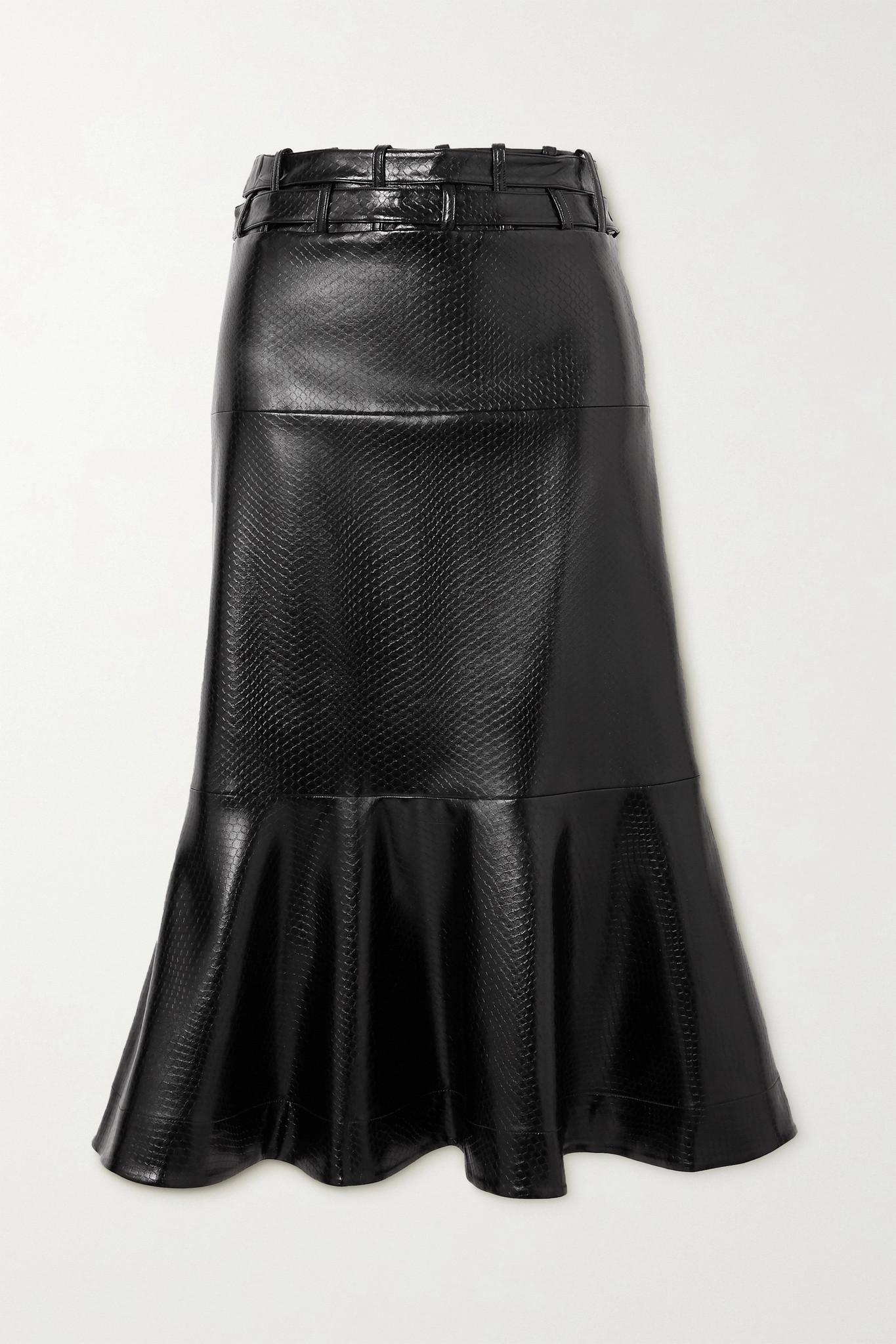 PALMER//HARDING - Leuca Fluted Snake-effect Faux Leather Midi Skirt - Black - UK14