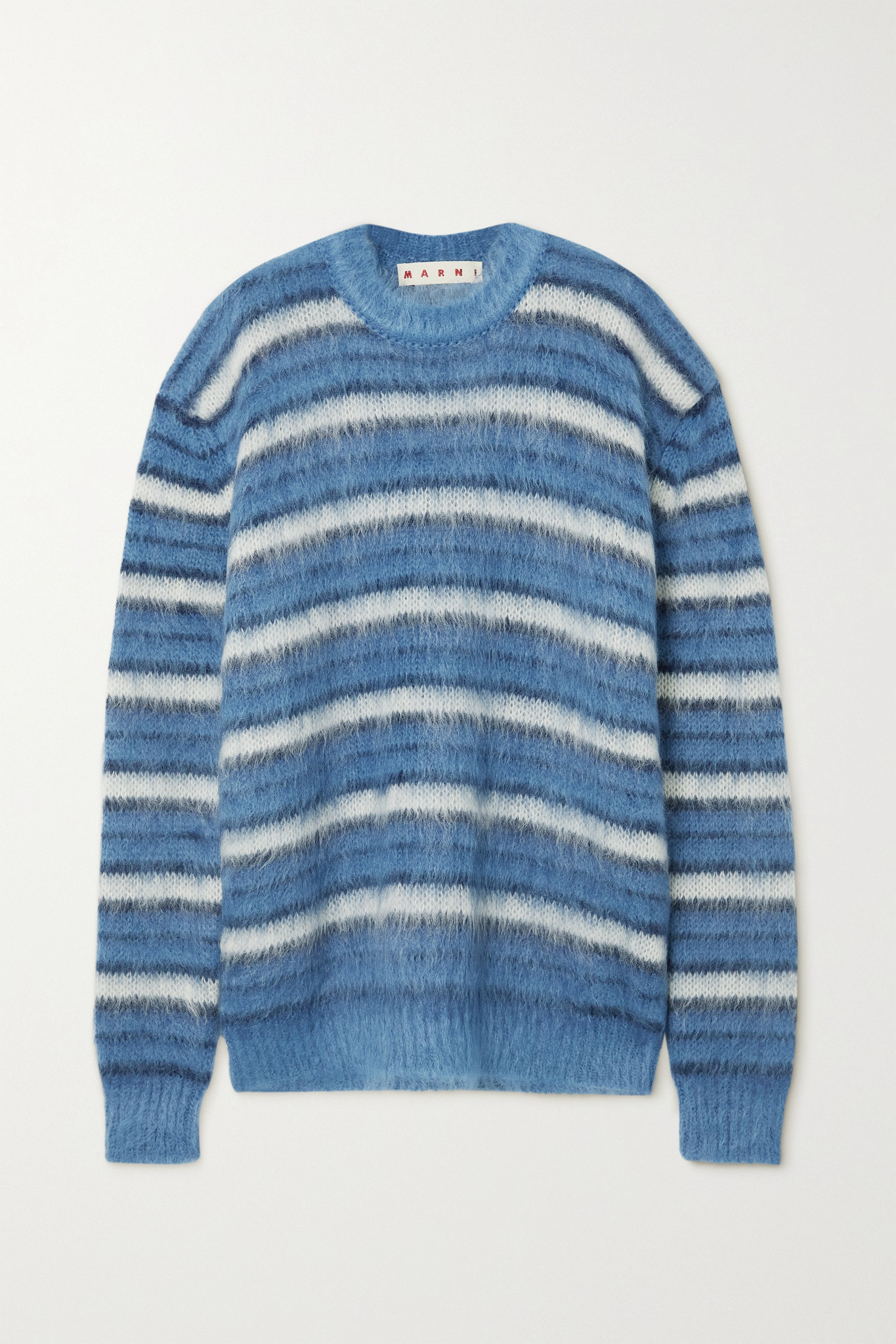 MARNI - Striped Brushed Mohair-blend Sweater - Blue - IT42
