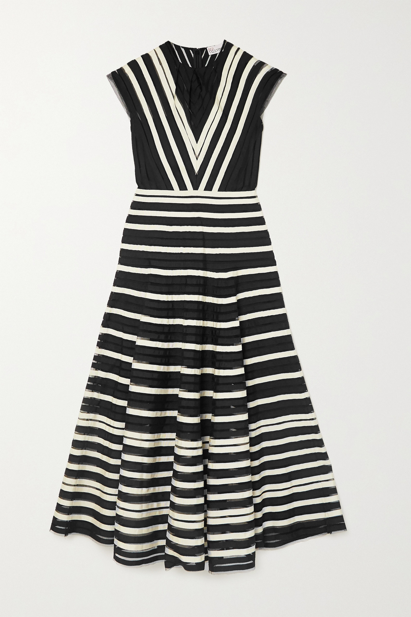 REDVALENTINO - Tulle And Grosgrain Midi Dress - Black - IT36
