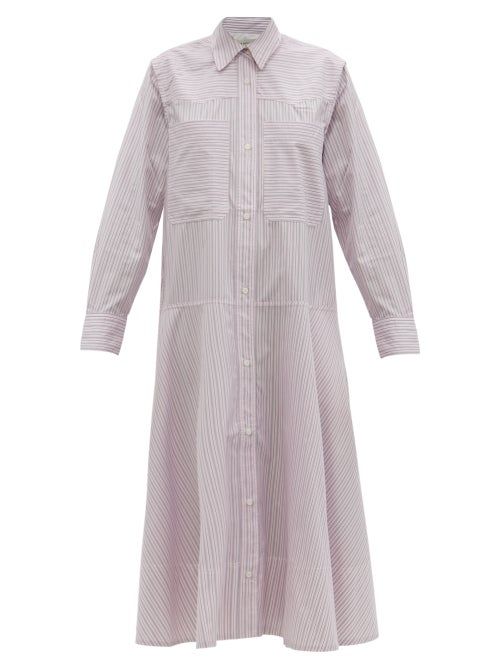 Lee Mathews - Anika Striped Cotton-poplin Shirt Dress - Womens - Light Pink