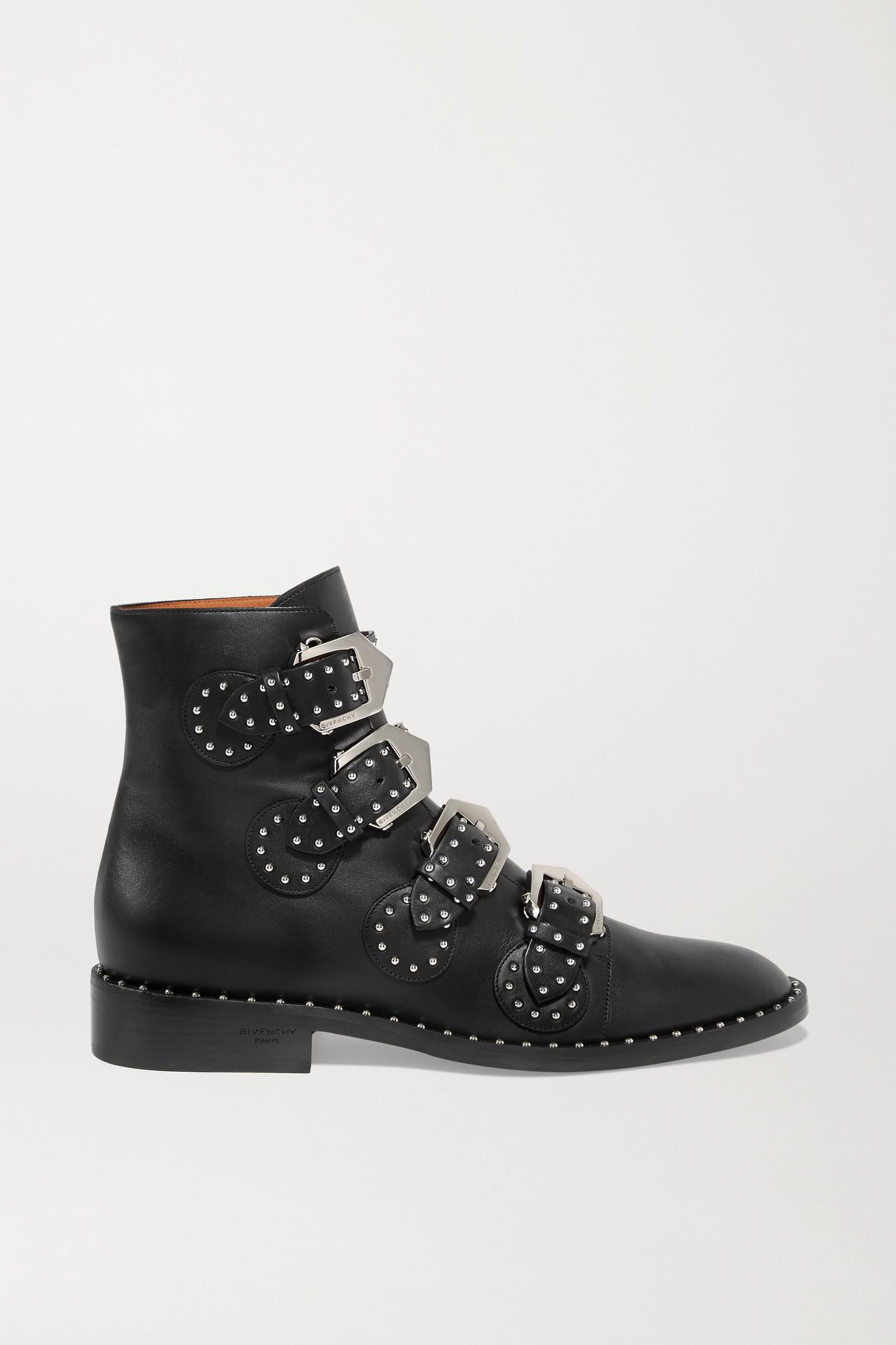 GIVENCHY - Elegant 铆钉皮革踝靴 - 黑色 - IT35.5