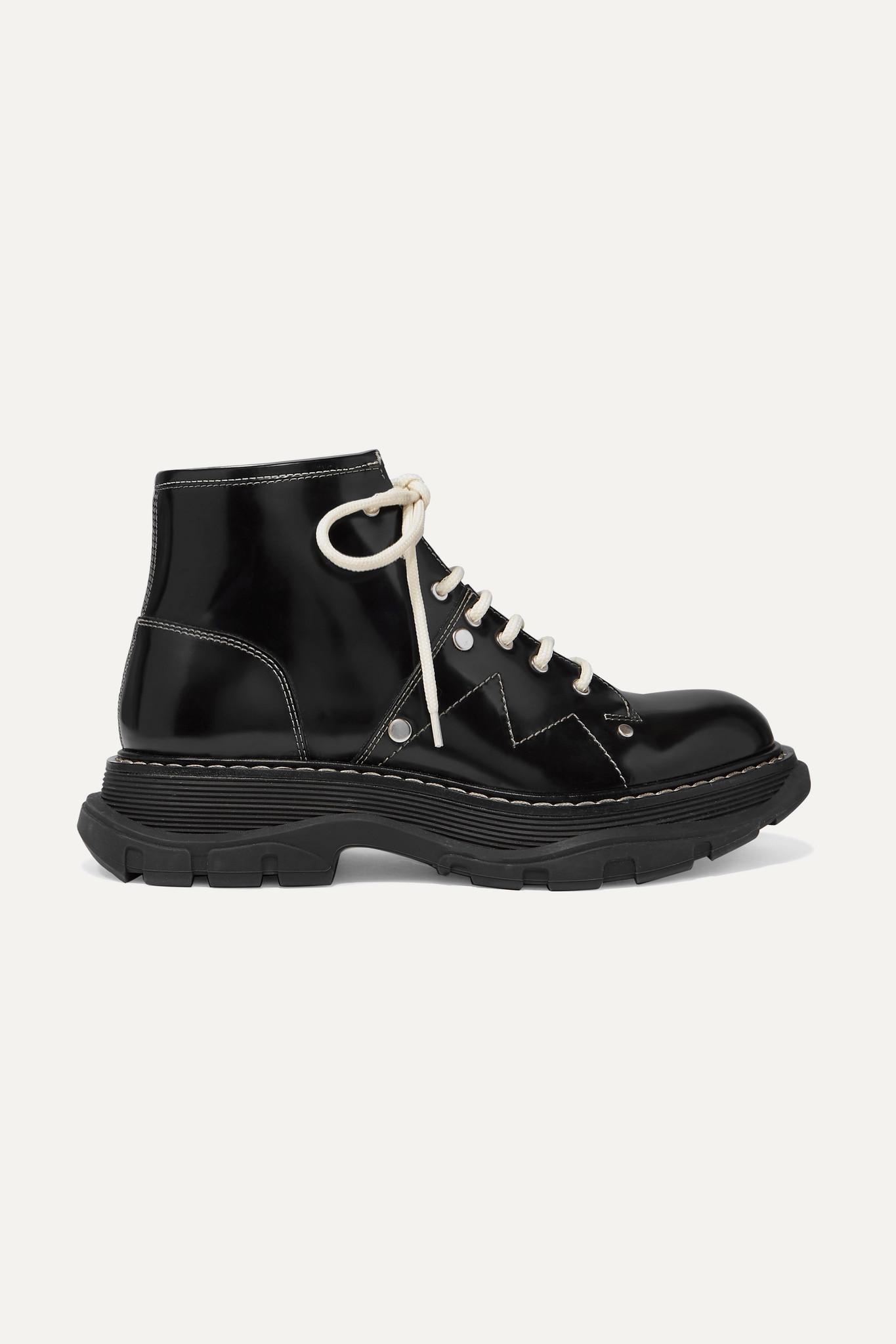ALEXANDER MCQUEEN - 亮面皮革厚底踝靴 - 黑色 - IT40