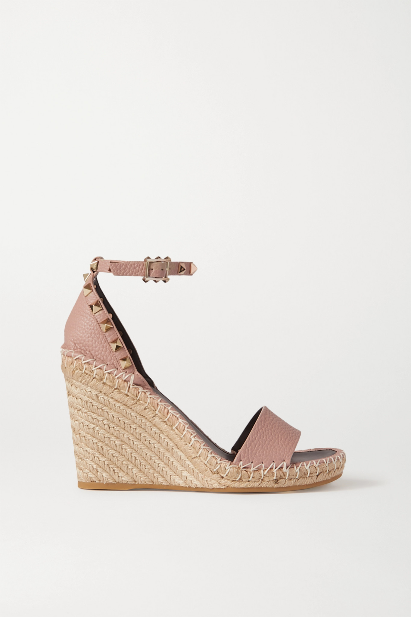 VALENTINO - Valentino Garavani The Rockstud 105 Textured-leather Espadrille Wedge Sandals - Neutrals