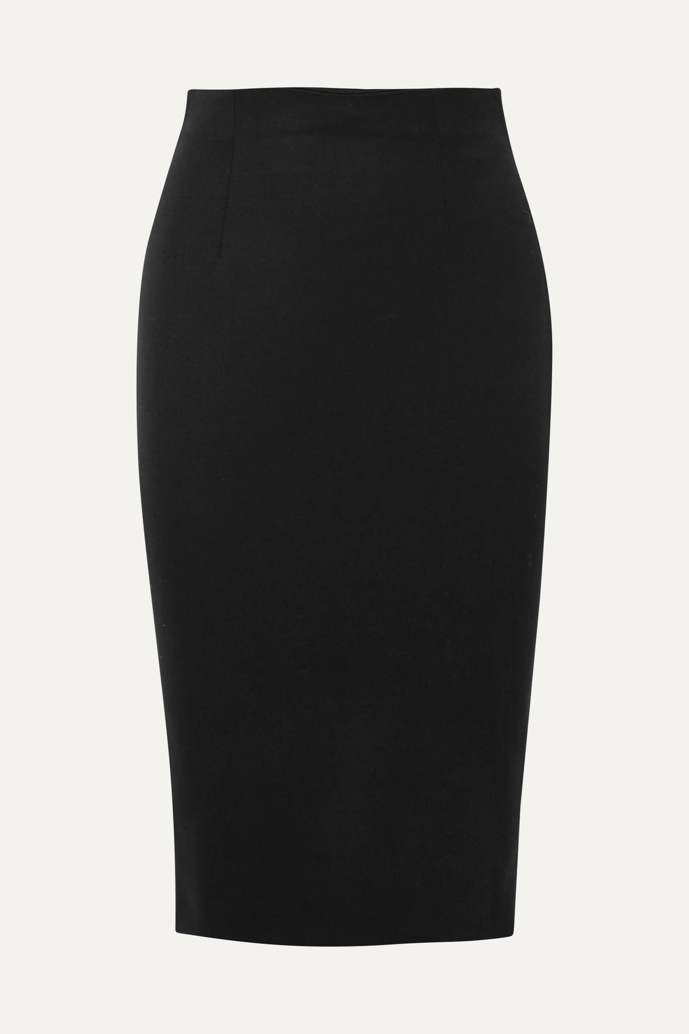 ALEXANDER MCQUEEN - 粒纹羊毛铅笔半身裙 - 黑色 - IT38