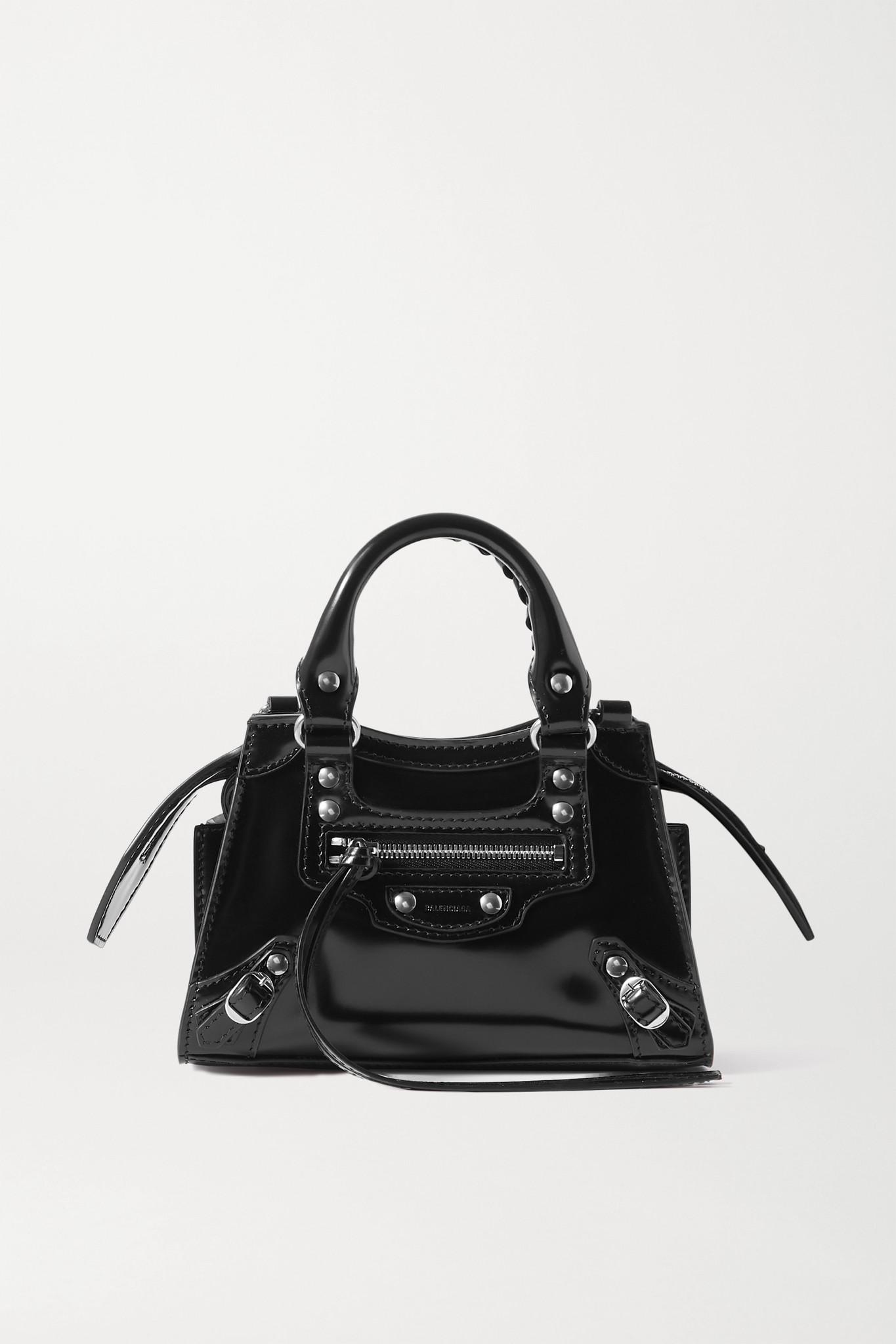 BALENCIAGA - Neo Classic City Nano Glossed-leather Tote - Black - one size