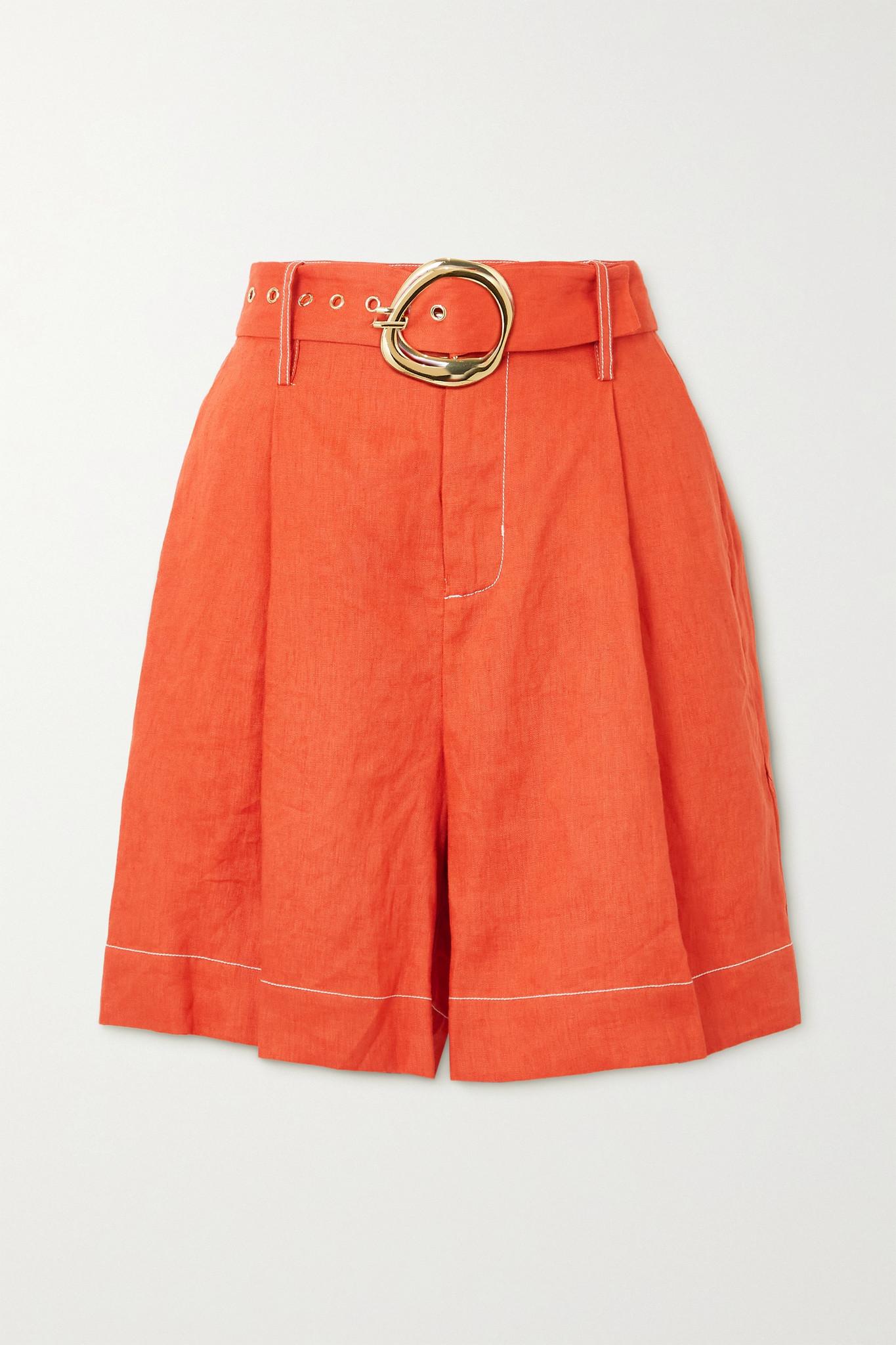 STAUD - Helios Belted Linen Shorts - Orange - US10