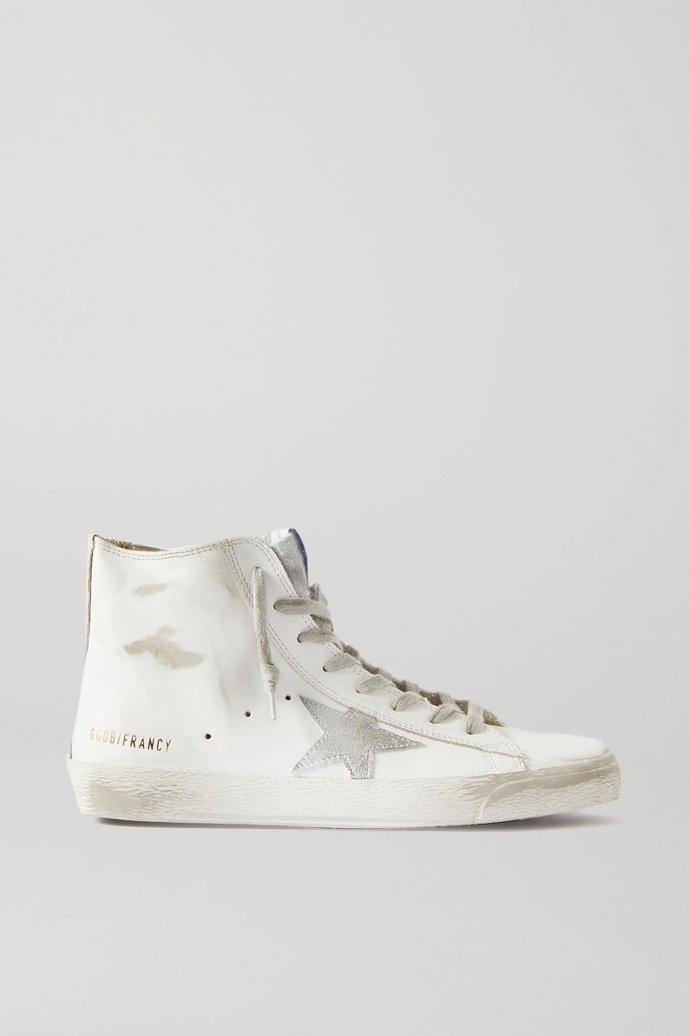 GOLDEN GOOSE - Francy 亮片金葱仿旧皮革绒面革高帮运动鞋 - 白色 - IT40