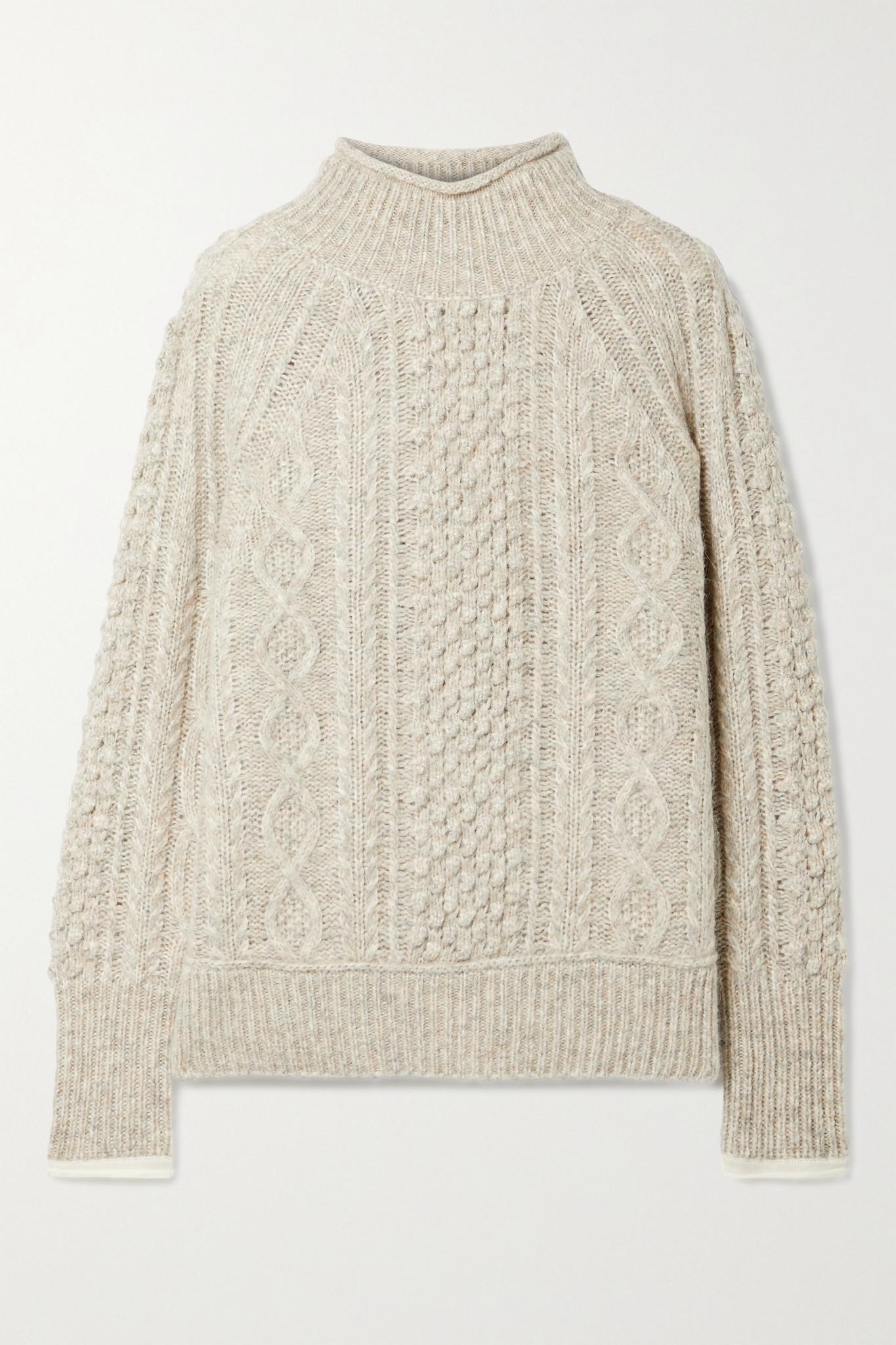 ALEX MILL - Camil 绞花针织混色羊毛混纺毛衣 - 灰色 - medium