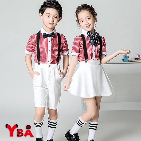 【YBA童裝】直條紋短袖襯衫+短褲/短裙+背帶+領結禮服4件組02/23(共4款)【K36002】[預購]