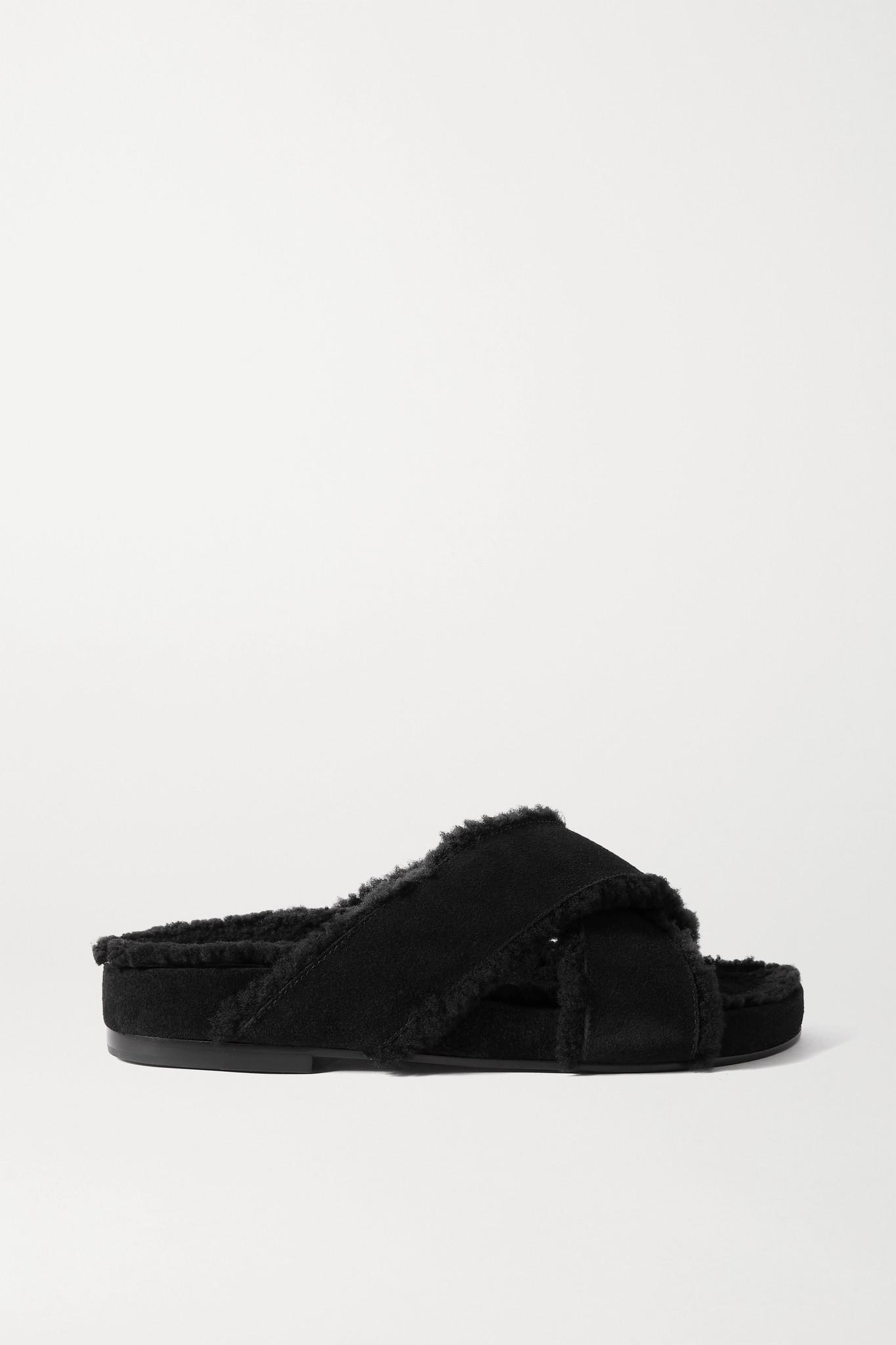 PORTE & PAIRE - 羊毛皮衬里绒面革拖鞋 - 黑色 - IT36