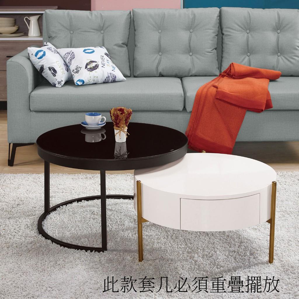 【71cm組合茶几-A310-3】實木原木玻璃 大理石長方桌 大小邊几 圓桌 【金滿屋】