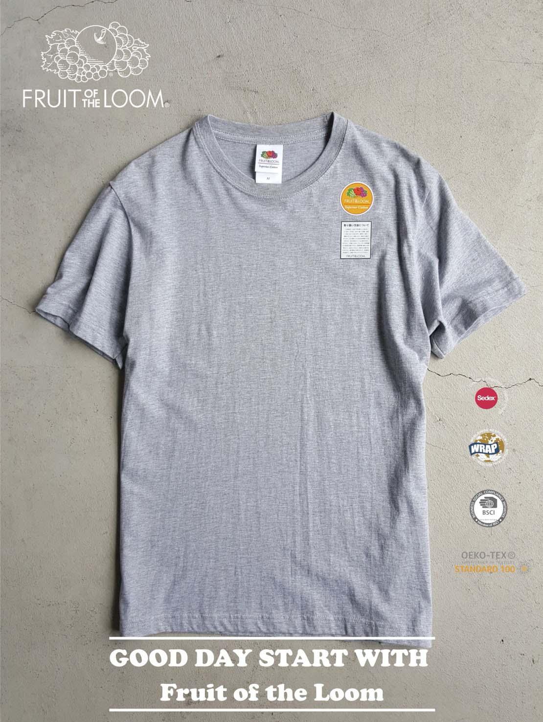 FRUIT OF THE LOOM 水果牌 - FL1850 美國純棉 5.3oz 高磅數 短T 素T (灰色GY)